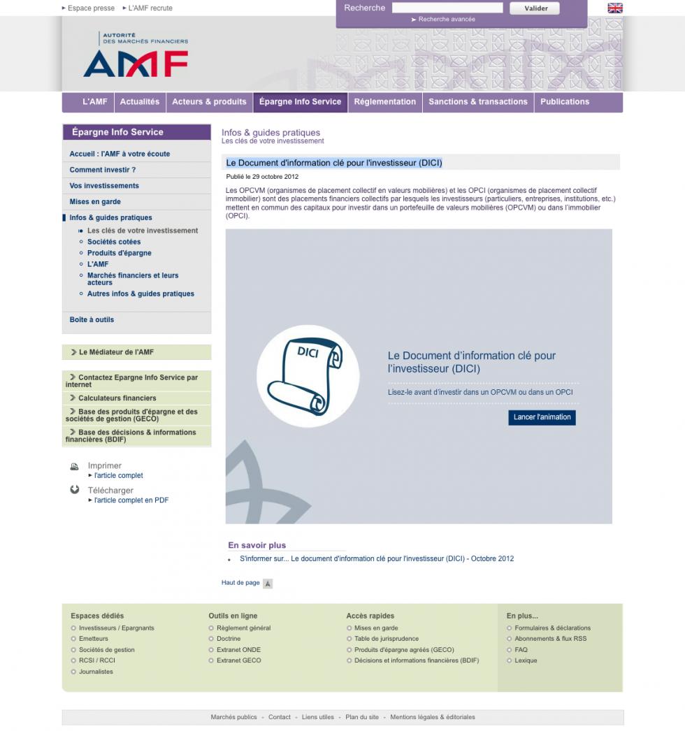 Le Document d'information clé pour l'investisseur (DICI)